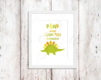 Rawr! I Love You in Dinosaur | Nursery Art | Wall Art | Nursery Decor | 5x7 | 8x10 | 11x14 (GL000057)