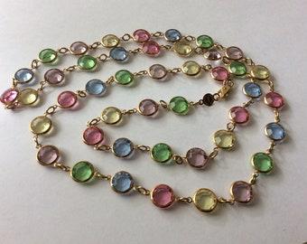 d9ddb2bd2e6e Austrian crystal USA pastel colors bezel set necklace 36