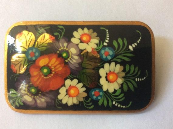 Russian black lacquer paper mache flower brooch. A