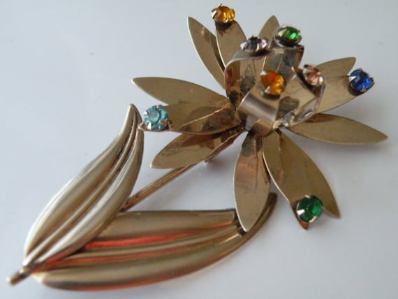 Sterling silver flower pin brooch Spinner flower W