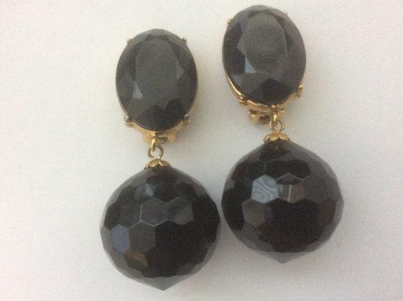 Les Bernard black faceted ball dangle drop clip-on