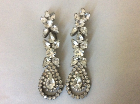Clear rhinestone dangle drop clip-on earrings 3.25
