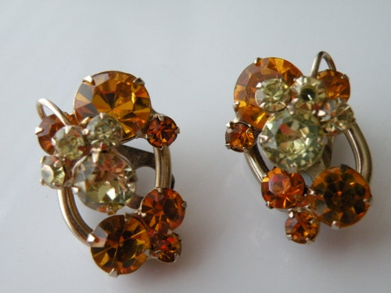 Juliana jonquil yellow, light topaz orange rhinest
