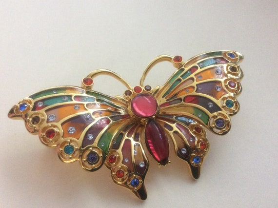 Joan Rivers stained glass multi color butterfly br
