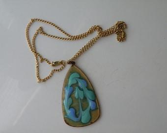 Copper, enamel double sided, reversible pendant. Handmade.