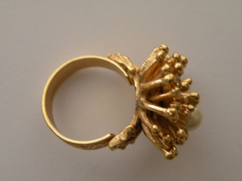 Adjustable Faux pearl clear rhinestone gold plated ring