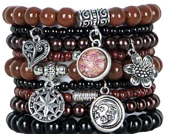 Beaded Bracelets Set of 9 Stretch Bracelets Bohemian Earth Tones Stack with Silver Tone Charms