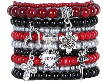 Beaded Bracelets Set of 10 Stretch Bracelets Bohemian Themed Stack with Silver Tone Charms