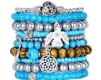 Beaded Bracelets Set of 10 Stretch Bracelets Bohemian Southwest Stack with Silver Tone Charms