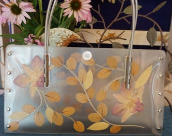 Handbag with Pressed Leaves & Orchids