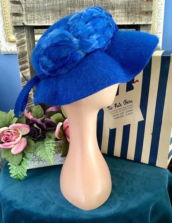 Henry Pollak Melosoie Royal Blue 1950s Hat - image 1