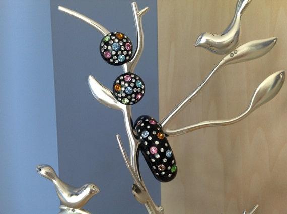 Rhinestone Studded Black Bakelite Cuff & Earring S