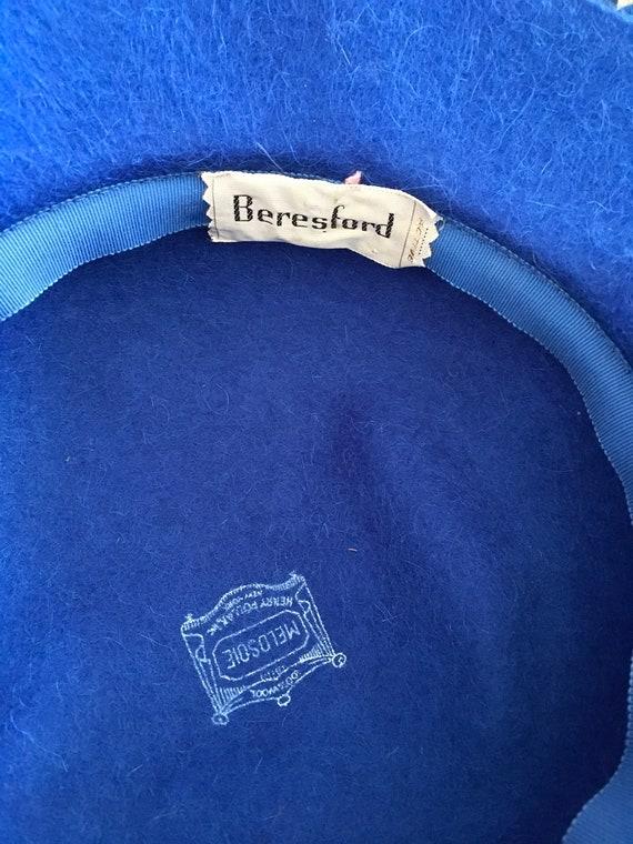 Henry Pollak Melosoie Royal Blue 1950s Hat - image 8