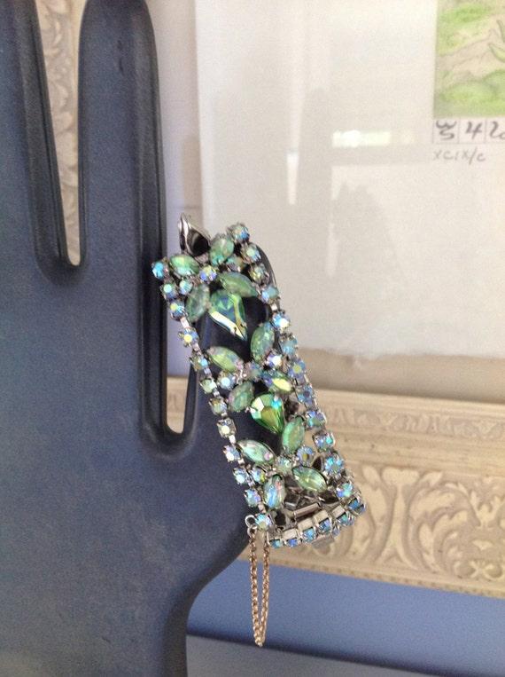 1940s Green Rhinestone Bracelet