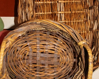 Set of Two Brown Wicker Baskets