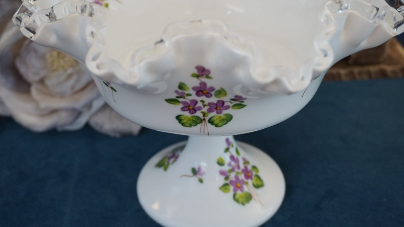 Milk Glass Compote with Violets