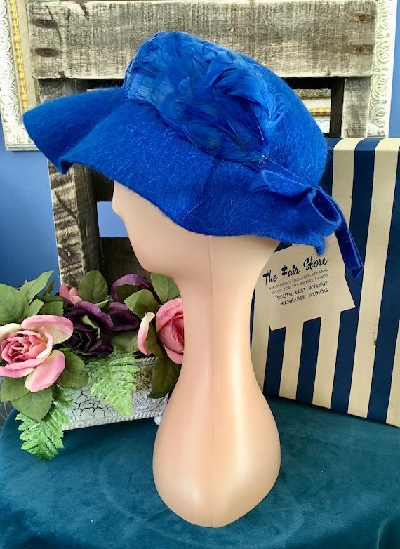 Henry Pollak Melosoie Royal Blue 1950s Hat - image 3