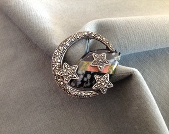 Sterling Silver Moon & Stars Pin in Marcasite