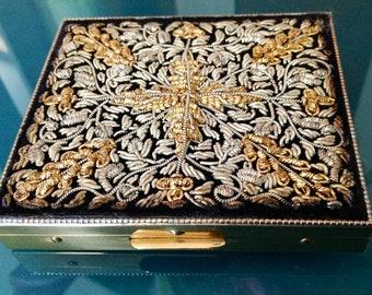 Black & Gold Embroidered Front Cigarette Case