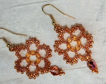 Beadwork Lace Flower Earrings in Honey Blonde and Gold