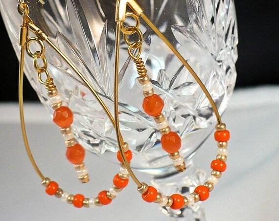 Orange Earrings, Gold Hoop Earrings, Teardrop Dangle Earrings, Seed Bead Earrings, Beaded Jewelry, Cute Gift for Her 2-1/4in