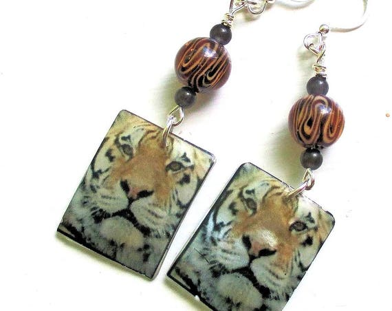 Tiger Earrings, Silver Filled Jewelry, Tiger Face Earrings, Cat Face Earrings, Tiger Charm Jewelry, One of a Kind Gift for Her 2-1/4in