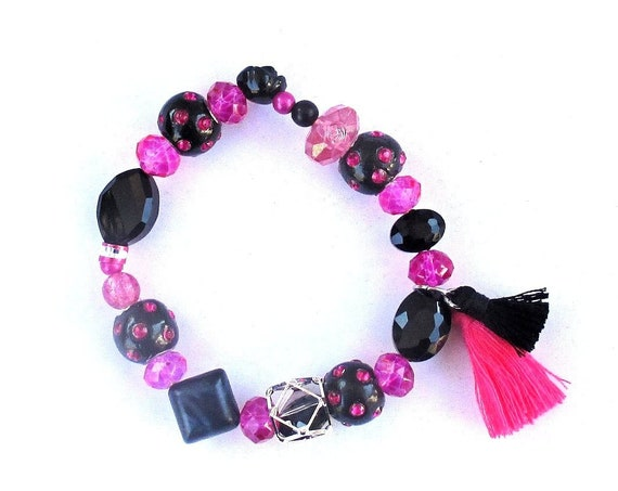 Fuchsia Hot Pink and Black Stretch Bracelet with Tassels