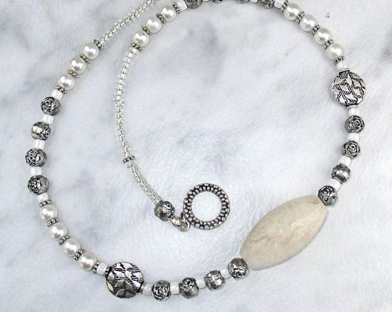 Silver and White Pearl Gemstone Necklace, Wedding Necklace for Brides, 18 inches long, Matching Earrings Available