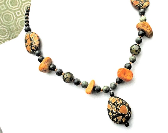 Gemstone Necklace, Magnesite Jewelry, Agate Necklace, Orange Green Pendant Necklace 16-18in / Matching Earrings & Bracelet Available