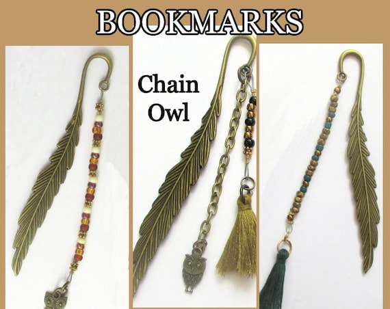 Gold Metal Feather Bookmark with Owl Charm, Beaded Tassel Bookmark for Book Lovers and Readers Teachers or Students