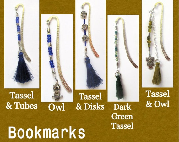 Silver Bookmark with Tassel or Owl Charm, Beaded Book Accessories, Bookmarks for Books, Gift for Reader Teacher Student