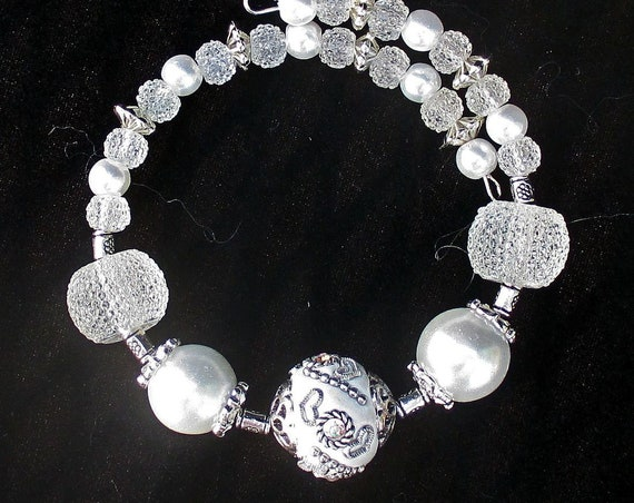 Bride Wedding Bracelet, White and Silver Anniversary Bracelet, Wrist 6-1/2 to 7-1/2 in.