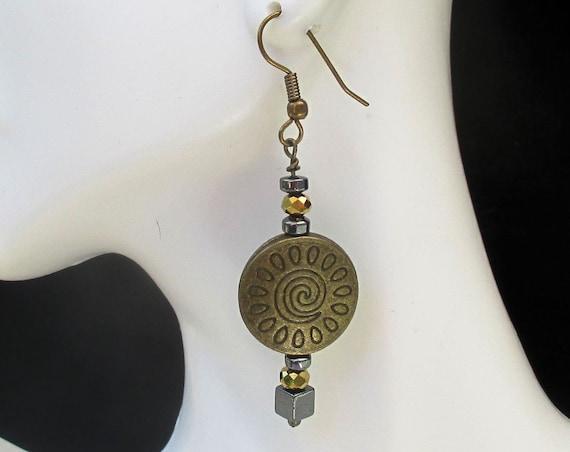 Spiral Earrings, Tribal Jewelry, Bohemian Earrings, Ethnic Jewelry, One of a Kind Gift for Her, Bronze Earrings, Girlfriend Gift 2-1/4in
