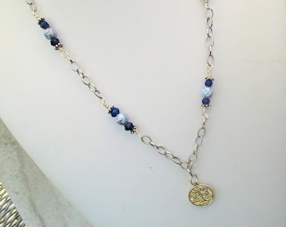 Libra Necklace, Zodiac Jewelry, Libra Astrology Necklace, Blue Silver Jewelry, Libra Birthday, Gift for Libra, Gift for Her, 23in or Shorter