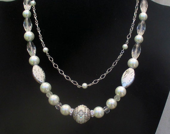 White and Silver Wedding Necklace, Pearl Necklace for Bride, 17 in + 20 in