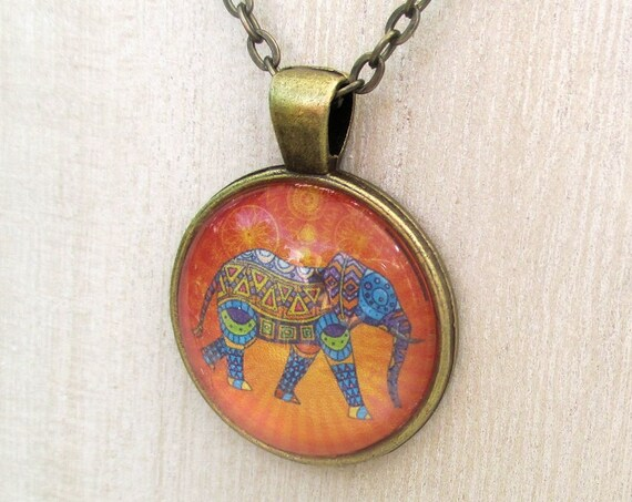 Picture Pendant Necklace Elephant Print 1 inch Metal Bezel Glass Dome Tile Bronze Chain Colorful Orange Yellow Blue / Custom Length