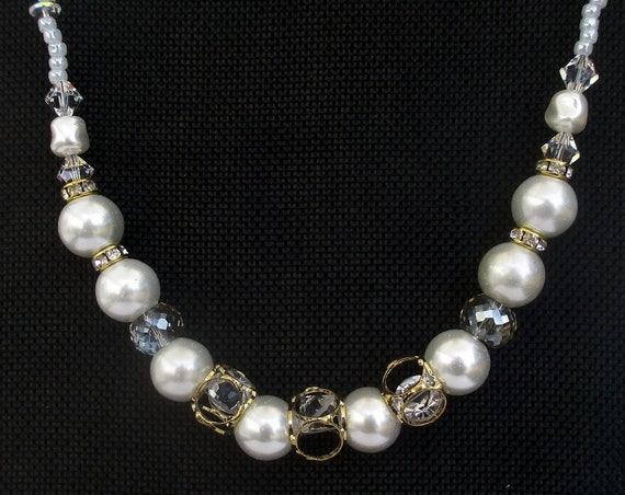 White and Gold Faux Pearl Necklace, Pearl Crystal Necklace, Pearl and Rhinestone Necklace, Wedding Jewelry, Bride Necklace 21 to 22-3/4in