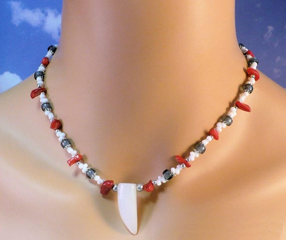 Agate Point Pendant Necklace Gemstone Coral Patriotic Red White Blue Silver Jewelry Adjusts 17 to 18in, Matching Earrings Available