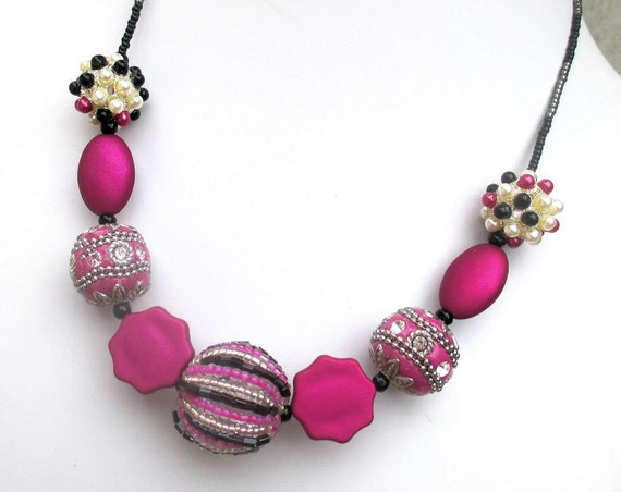 Magenta Necklace, Big Bead Necklace, Red-Violet Jewelry, Fuchsia Disco Ball Necklace, Boho Chic Jewelry, Hot Pink Necklace for Women 19-22in