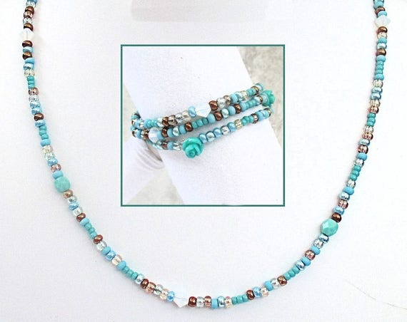 Turquoise Necklace Converts to Wrap Bracelet, Aqua Jewelry, Lightweight Jewelry, Necklace Bracelet, One of a Kind Gift for Her, 20-21in