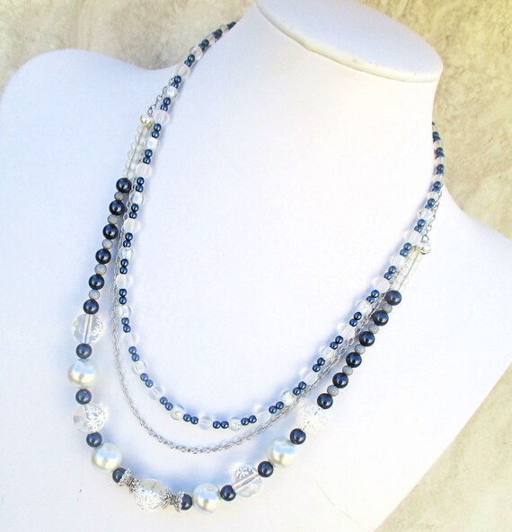 Snowflake Necklace, Multistrand Necklace, Winter Jewelry, Pearl Necklace, Blue White Silver Adjustable Necklace, Gift for Her 17-1/2 to 21in