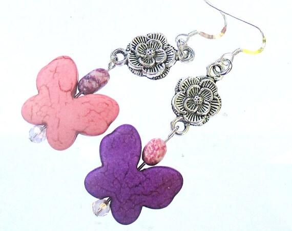 Butterfly Earrings, Silver Filled Earrings, Stone Butterfly Charm Earrings, Rose Flower Jewelry, Purple Pink Silver, Gift for Her 2-1/2in