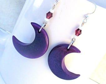 Tagua Nut Earrings, Purple Earrings Moon, Ultra Violet Earrings, 925 Silver Jewelry, Lunar Earrings, Luna Earrings, Gift for Her 2-1/4in