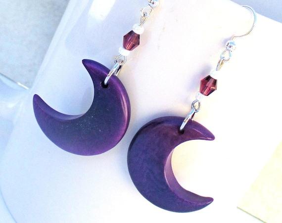 Crescent Moon Earrings, Purple Tagua Nut Earrings, Moon Goddess Earrings, 925 Silver Jewelry, Lunar Earrings, Gift for Her 2-1/4in
