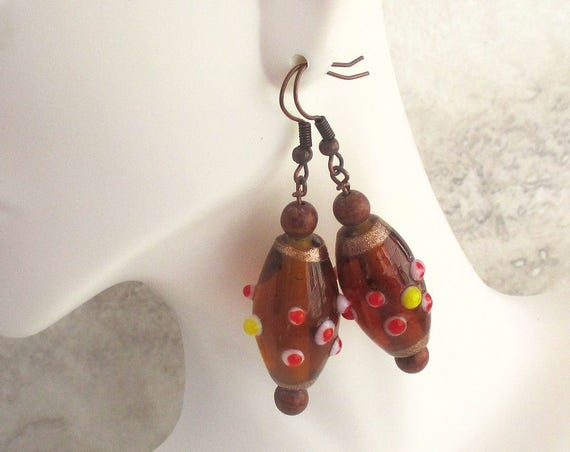 India Bead Earrings, Kashmiri Jewelry, Bollywood Earrings, Copper Earrings, Gift for Her, Exotic Earrings 2in, Matching Necklace Available