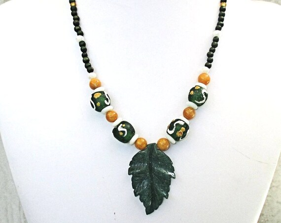 Leaf Necklace, Gemstone Jewelry, Pendant Necklace, Green Handmade Jewelry, Ethnic Necklace, One of a Kind Christmas Gift for Her 19in