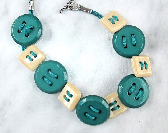 Teal Button Bracelet, Funky Button Jewelry, Jute Cord Bracelet, Found Objects Jewelry, Cute Bracelets, Gift for Her, Wrist 7-1/4 to 7-3/4in