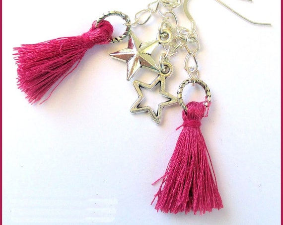 Fuschia Tassel Earrings with Star Charms and Silver Filled Hooks, Funky Hot Pink Jewelry, 2-1/4 inches