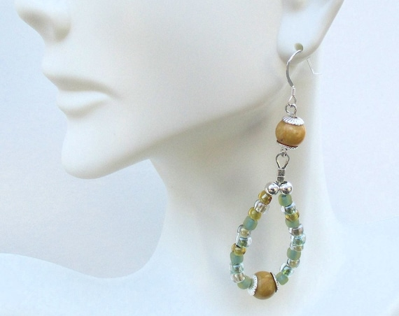 Yellow Gemstone Hoop Earrings with Sterling Silver Hooks and Blue Green Glass Beads, 3 inches long