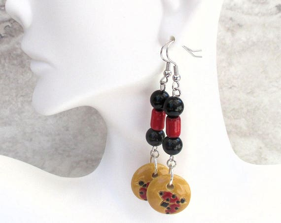 Ladybug Earrings with Golem Beads and Hypoallergenic Nickel Free Hooks, Lucky Ladybird Earrings, 2-1/2 inches long